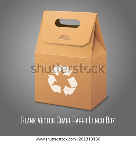 Blank paper craft packaging bag with handle and place for your design and branding with recycle sign. Vector - stock vector