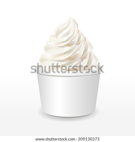 blank paper cup with milk ice cream isolated over white background