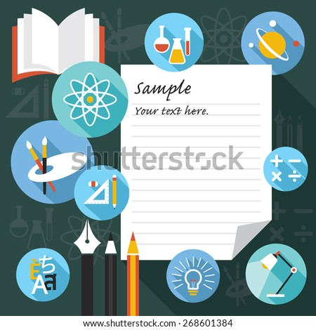 Blank Paper Frame with Education Icons, Learning and Study in Flat Design Style - stock vector