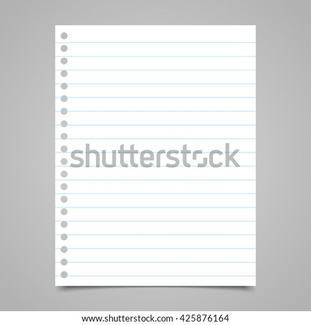 Blank paper note with lines. Vector illustration eps10 - stock vector