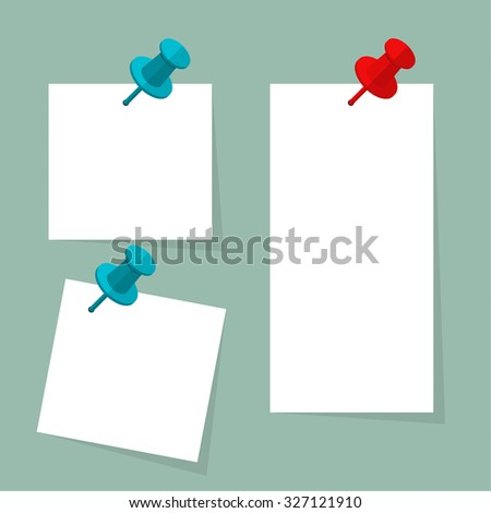 Blank Paper Note Push Pin Vector Stock Vector 306657725 - Shutterstock