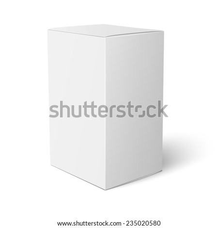 Blank paper or cardboard box template standing on white background. Packaging collection. Vector illustration. - stock vector