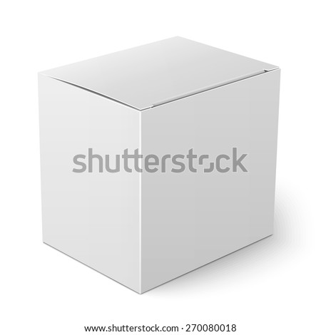 Blank paper or cardboard box template with flap cover standing on white background Packaging collection. Vector illustration. - stock vector