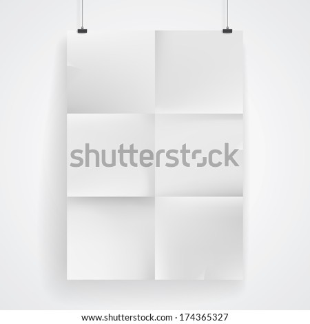Blank paper poster on white wall. Place your design and apply Transparency with Multiply blending mode to it. Vector eps-10.