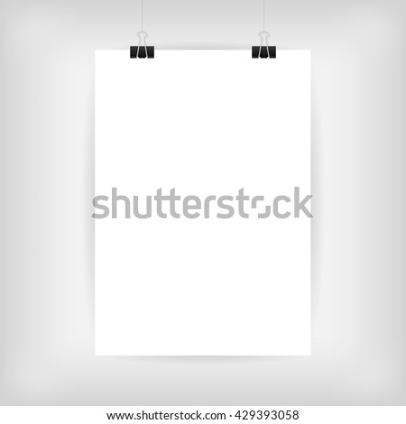 Blank Paper Poster Template. Blank Photo Page Hanged with Paper Clips on Gray Background with Shadows. Clean and Realistic Style Design. Photo Page Template. A4/A3 Format Poster. Vector Illustration.