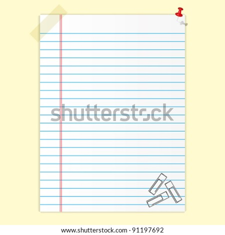 Blank paper sheet and clips.