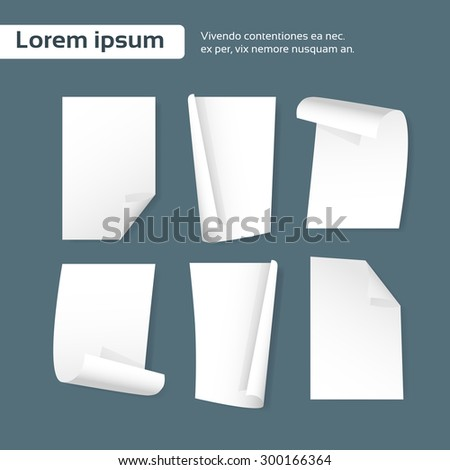Blank Paper Sheet Curl Corner, Empty Page Set Bend Collection Vector illustration - stock vector