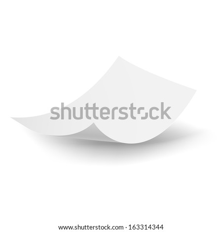 Blank paper sheet falling down. Illustration on white background. - stock vector
