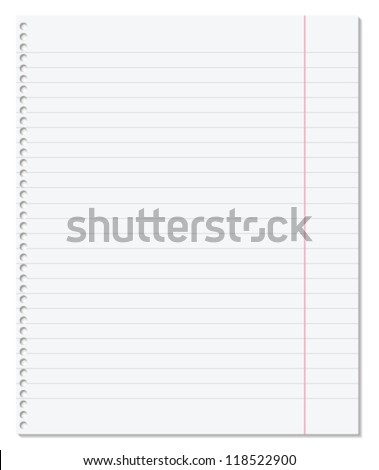Blank paper sheet with lines, margin and holes. Vector illustration.