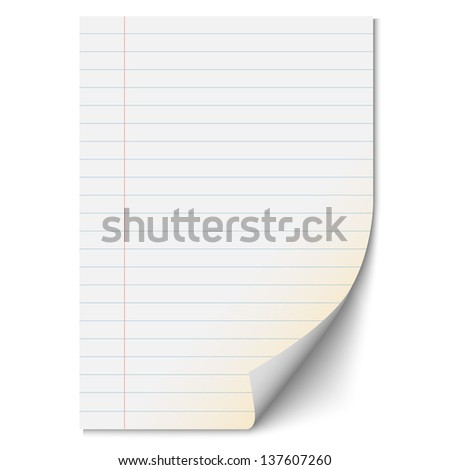 Blank paper sheet with lines. Vector EPS10 - stock vector