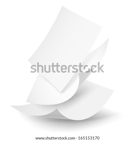 Blank paper sheets falling down. Illustration on white background. - stock vector