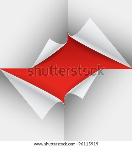 Blank paper sheets with bending corners - stock vector