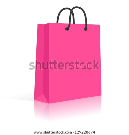 Blank Paper Shopping Bag With Rope Handles. Pink, Black. Vector, Isolated - stock vector