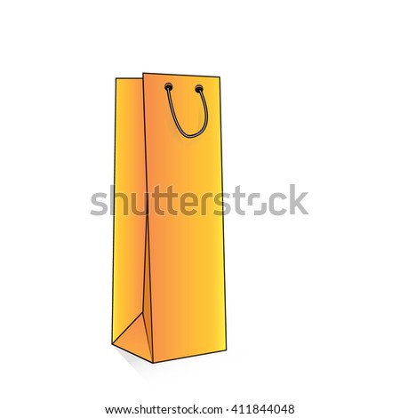 Blank Paper Shopping Bag With Rope Handles, yellow, Black. Vector, Isolated - stock vector