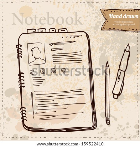 Blank Paper with Notebook Vector hand drawn, isolated illustration - stock vector