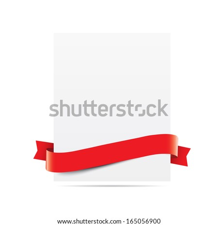 Blank paper with red ribbon - stock vector