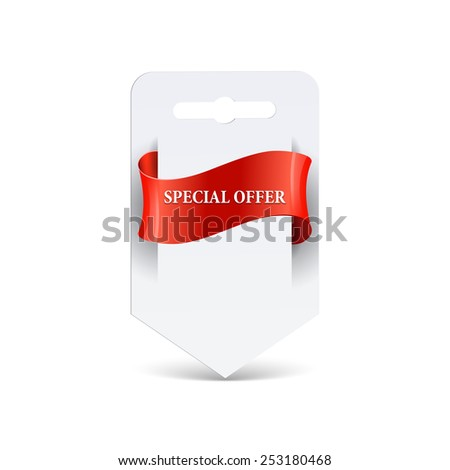 Blank paper with ribbon. Sale label - stock vector