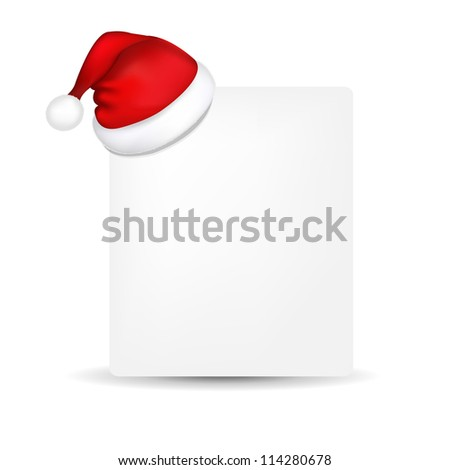 Blank Paper With Santa Hat, Isolated On White Background, Vector Illustration - stock vector