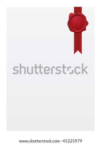 Blank paper with seal - stock vector