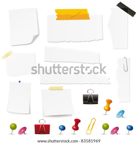 Blank papers and pin collection. Vector