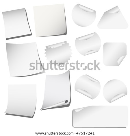 Blank papers and stickers isolated on white vector - stock vector