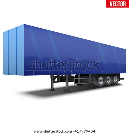 Blank parked blue semi trailer with canvas cover. Perspective side view. Vector Illustration Isolated on white background - stock vector