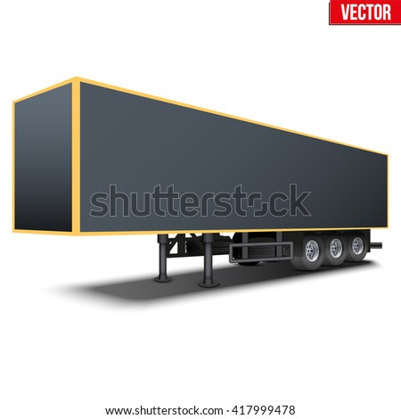 Blank parked van black semi trailer. Perspective side view. Vector Illustration Isolated on white background - stock vector