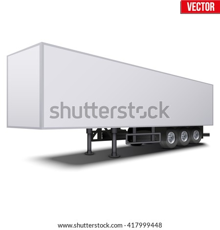 Blank parked van white semi trailer. Perspective side view. Vector Illustration Isolated on white background - stock vector
