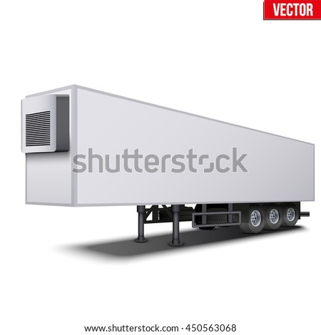 Blank parked van white semi trailer truck refrigerator. Perspective side view. Vector Illustration Isolated on white background - stock vector