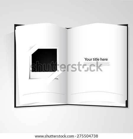 Blank photo album with photo to insert picture - stock vector