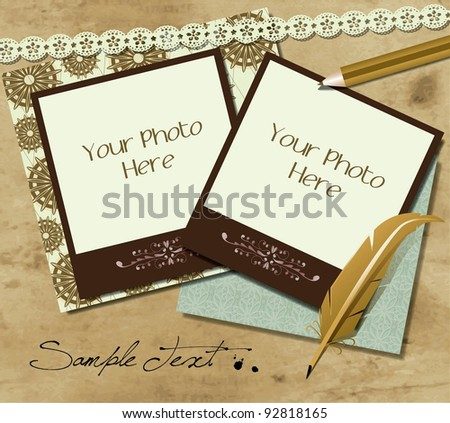 Blank photo frame on the grunge wood background - stock vector