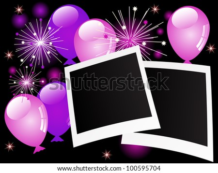 Blank photo frames with violet balloons and stars - stock vector