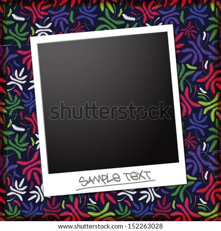 Blank photo on a floral background