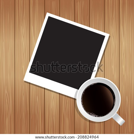 Blank photo with wood background  - stock vector