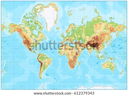 Blank physical world map bathymetry vector vectores en stock blank physical world map and bathymetry vector illustration gumiabroncs Gallery