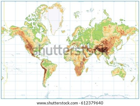 Detailed physical world map retro colors vectores en stock 612379448 blank physical world map isolated on white vector illustration gumiabroncs Image collections