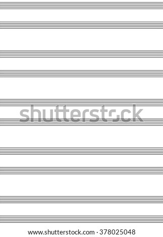 blank piano score sheet with two staves - isolated vector illustration