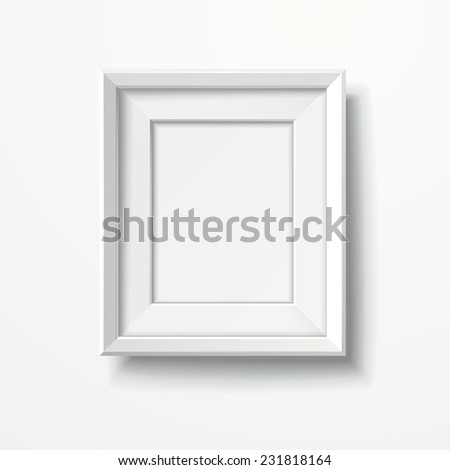 blank picture frame isolated on white wall  - stock vector