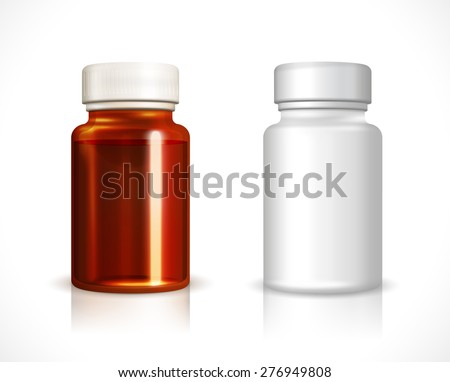 Blank plastic and glass bottle. Container clean, liquid medicine, vector illustration