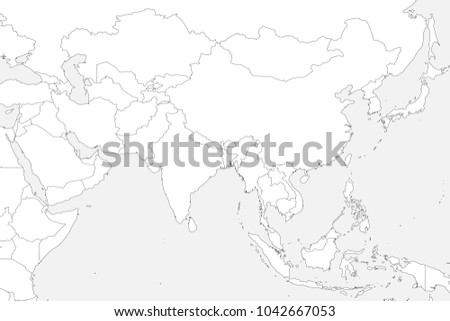 Blank Political Map Of Western, Southern And Eastern Asia. Thin Black  Outline Borders On