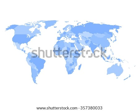 Blank political map of world in four shades of blue and white background. Simplified vector map.