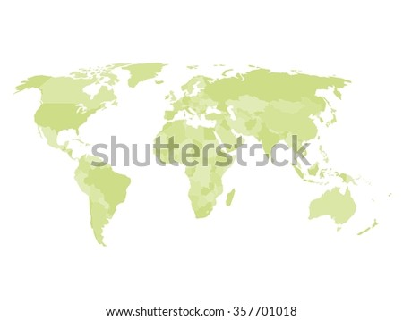 Blank political map of world in four shades of green and white background. Simplified vector map.