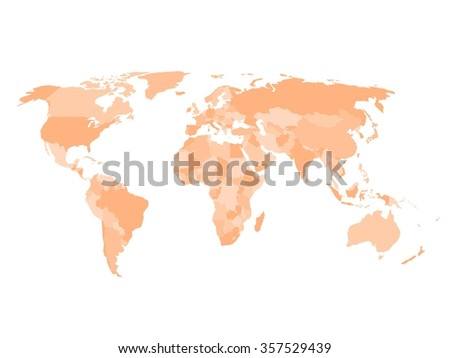 Blank Political Map World Four Shades Stock Vector 357529439
