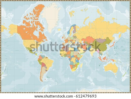Blank Political World Map Vintage Color Stock Vector - Blank world map with rivers