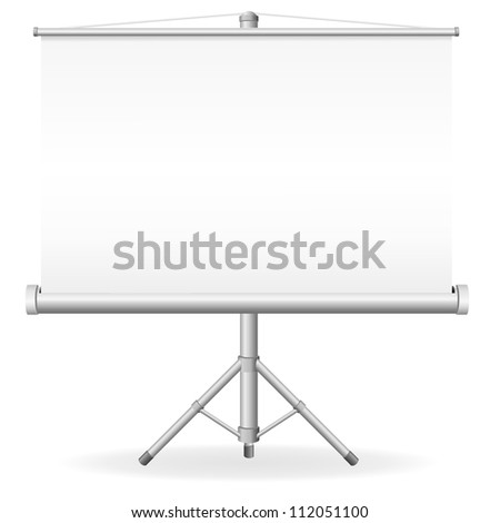 blank portable projection screen vector illustration isolated on white background - stock vector