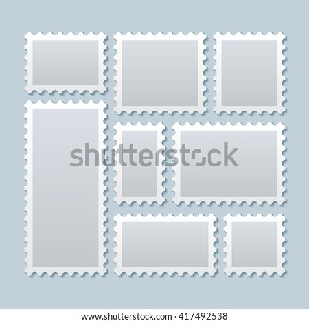 Blank postage stamps in different size. Paper mark, postcard. Vector illustration template - stock vector