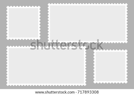 Blank Postage Stamps. Light Postage Stamps on gray background. EPS10