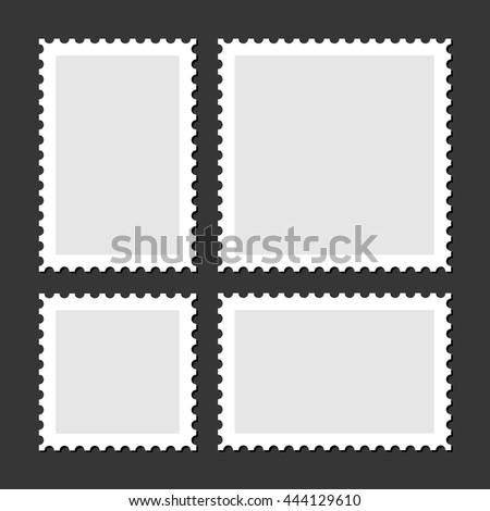 Blank Postage Stamps Set on Dark Background. Vector - stock vector