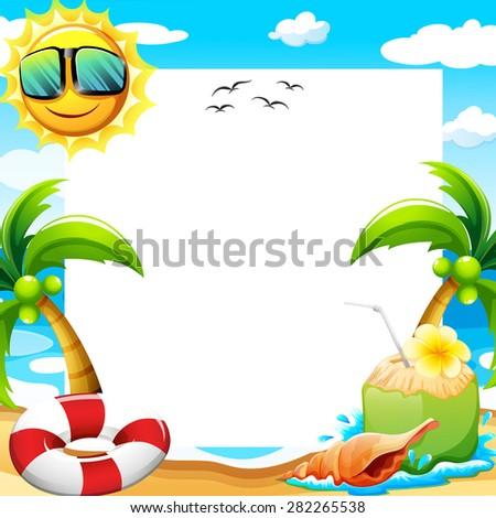 Blank poster with beach view at daytime - stock vector