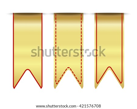 Blank premium  ribbon gold and red set - stock vector